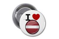 Latvia metal flower flag brooch pin