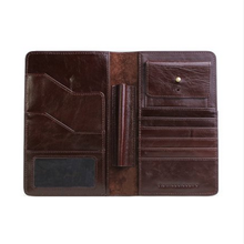 Multifunctional genuine leather anti thief rfid blocking travel wallet passport holder with card holder coin pouch and pen slot