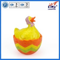Customized easter gift ceramic duck shaped egg storage,ceramic easter cookie/candy jar with animal design
