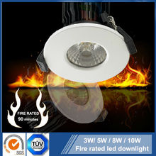 Fire rated 3W 5W 8W 10W Sharp /Bridgelux IP65 COB led downlight with Satin brushed stainless steel /Nickel/ Chrome finish