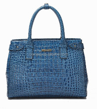 2015 new arrival ladies handbags wholesale crocodile pattern blue women tote bag