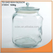 Wholesale 3L glass peanut embossed jar with glass lid and plastic seal export to Wal-Mart