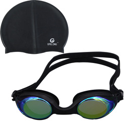 100% cilicone sport equipment Swimming Goggles and Swimming Cap Set, Ear and Hair Protection Swimming cap and antifog Goggle