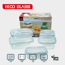 5-piece 10-piece high quality borosil glass food container lunch box container set with gift box for USA market
