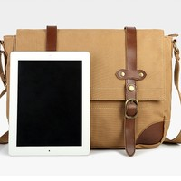Dense canvas & genuine leather bag for tablets PC bag for ipad 2--HOT SELLING!!!
