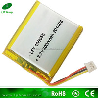 105055 shenzhen factory long cylce life 3.7v 3000mah lipo battery for iphone