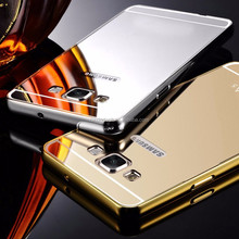 For Samsung A5 case cover ,Luxury Aluminum Metal Frame+Acrylic Mirror back cover For Samsung Galaxy A5 A5000 phone bag cover