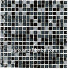 Glossy crystal mesh mounted glass mosaic mix stone