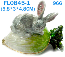 Fashion Metal Alloy Pewter Swaroski Rhinstone Crystal Enamel Cabbage Rabbit Trinket Jewelry Decorative Box