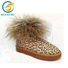 Fluffy leopard printing warm snow boots waterproof