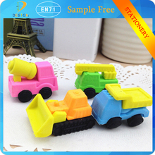 Chinese stationery latest puzzle fire truck car shaped plastic rubber kids toy eraser