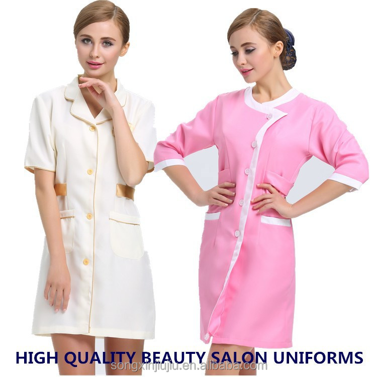 2015 newly style fashionable beauty salon uniform used for Spa uniform indonesia