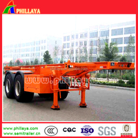 top quality 2 axles skeleton trailer frame/flatbed 20ft container 20ft chassis