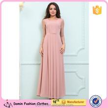 Best Quality Fashion Design Long Sleeve Pleated Chiffon Dress