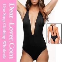 sexy mature New Wholesale Black Sexy Plunge Neck Monokini thick bikini women