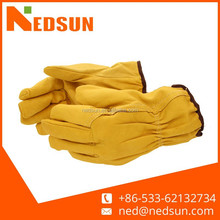 Quality assurance yellow hand protect leather driving gloves