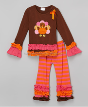 wholesale kids thanksgiving boutique clothing holiday celebration wear baby girls turkey ruffle outfit