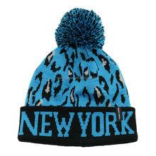 NEW YORK acrylic jacquard pom pom leopard knit beanie hat