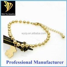 Fashion lovely bear 18k gold plated beaded bracelet