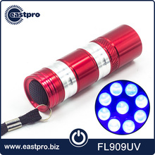 Multi function 9 uv mini led torch