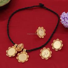 22k Gold Plated African Eritrea Habesha Ethiopian Big Coin Wedding Bride Jewelry