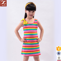 Seven Colors Yarn Dye Sleeveless 10 Year Olds Girls Dress