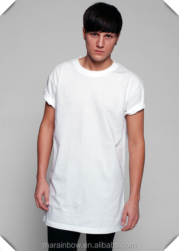 Hip Hop Mens Long Line T Shirts 100 Cotton White Plain
