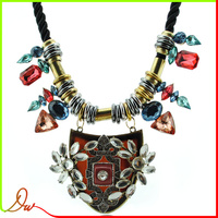 2014 new design fashionable acrylic pendant african jewelry sets with leather rope