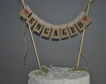 Engaged Wedding Cake Topper Mini Bunting Banner Topping Hessian Burlap Bunting For Cake