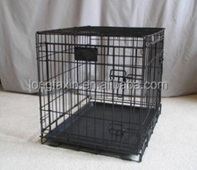 PORTABLE FOLDABLE WIRE DOG PET KENNEL CAGE TRAVEL CRATE 2 DOOR