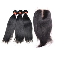 Free Shipping Virgin Hair Bundles With Lace Closure, 8-22 Inch In Stock Cheap Human Hair Lace Closure