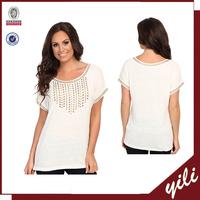 new item beaded o neck tops short sleeves womens' design blouse t shirt for girls