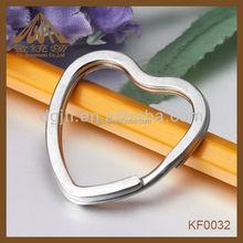 2014 fashion high quality heart split key ring nickel plated