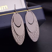 America and Europe pop punk wind hollow circle multilayer frosted earrings earrings