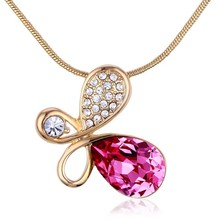 2015 OUXI supply 18k gold plate crystal pendant necklace with Swarovski Elements