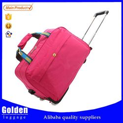 Customize new designer leisure polyester travel bag rolling garment trolley duffel bag for short time trip