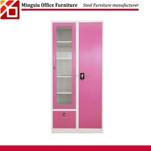 Glass door luxury furniture pink metal lockers bedroom cabinet with safe box and drawer hanging clothes