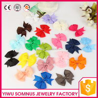 8CM Colorful ribbon bow tie flowers accessories diy kids hair clips/headband/hair band