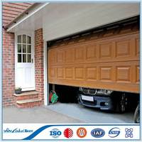 Walnut color sectional garage door with windows insert | Modern design and remote control