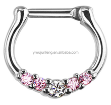 Pink/Clear Five-Gems 316L Surgical Steel Septum Piercing For Indian
