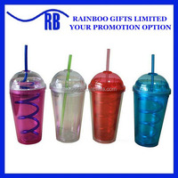 Logo printed reusable plastic double wall tumbler cup with twist straw dome lid