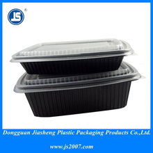 Disposable plastic containers and lids for takeaway food