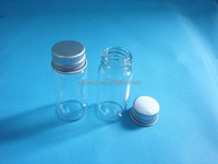 Hot sale glass cosmetic bottle with aluminum cap, cylinder glass bottle, glass bottle for bath salt packing