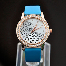 light blue leather women watch rhinestone leopard print animal women watches