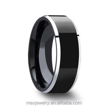 8mm Black Tungsten Carbide Ring Men's Wedding Band Polished Finish Beveled Edge in Comfort Fit