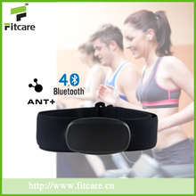 Fitness waterproof bluetooth ant heart rate monitor with colour chest strap