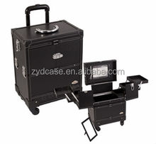 PU panel makeup case trolley rolling artist makeup train case