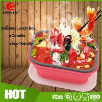 Hot Silicone Disposable Collapsible Leakproof Thermal Food Warmer Bento Tiffin/Lunch Box With Lock