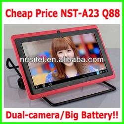 cheap 7 inch allwinner boxchip 3000mah big battery dual core Q88 a23 Tablet PC,vatop tablet pc,vatop 7inch tablet pc