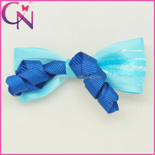 Wholesale Ribbon Bow Tie for Hair, 2.5 inch Curly Ribbon Decor Bow Tie Shape Hair Bow with Alligator Clip